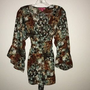 Betsy Johnson bell ruffle sleeve tie Browns Small